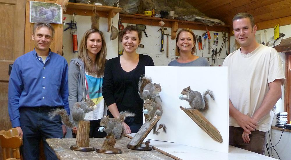 Mammal Taxidermy Training students work