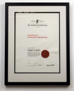 Certificate of Professional Membership of the Guild of Taxidermists