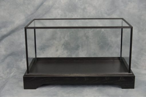 glass oak display case black